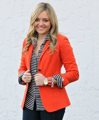 Fitted Party Wear Orange Blazer9