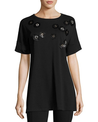 Floral Appliqué Short Tunic for Women
