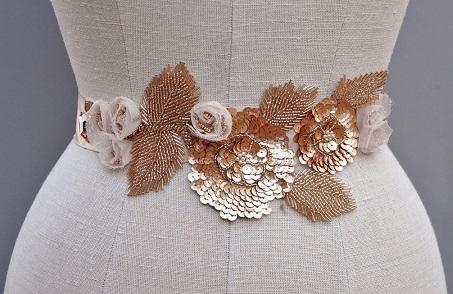 Floral design Rose Gold Belt for Women