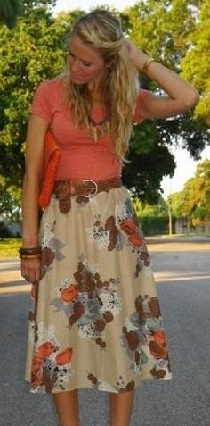 Floral full midi casual skirt
