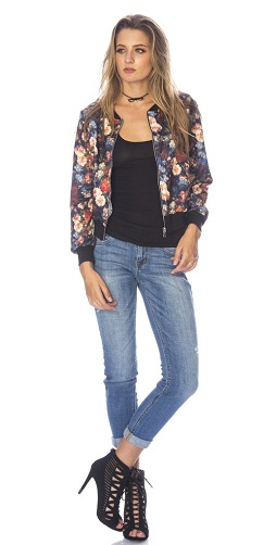 Flower Stretch Bomber Jacket Blazer