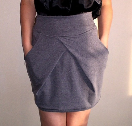 Formal Grey Tulip Mini Skirt