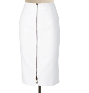 Front Zip White Straight Skirts