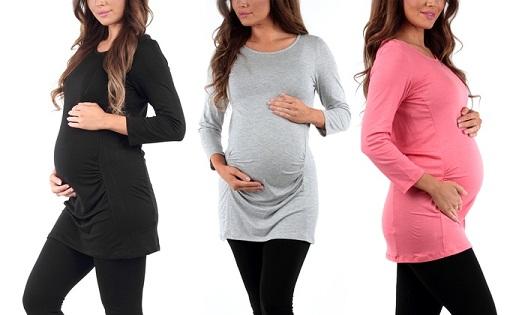 Full Sleeved Gathered Maternity Tunic