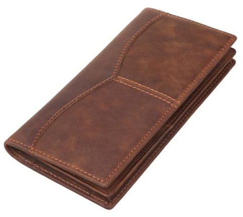 Genuine Cow Leather Bi-Fold Long Wallet