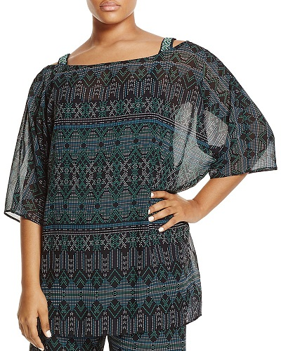 Geometric Printed Chiffon Tunic for Women