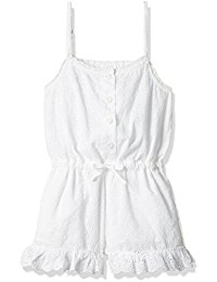 Girls White Cotton Jumpsuit