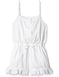Girls White Cotton Jumpsuit