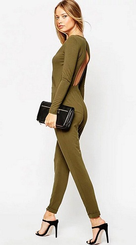 Green Backless Jumpsuit