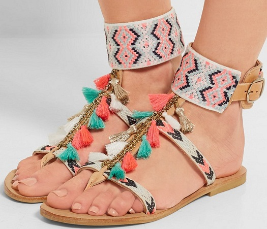 828d15349b3a This is really stunning womens beach sandal. It is handcrafted and having  thick strap with buckle on ankle. There is hanging bunch of colourful  strings with ...