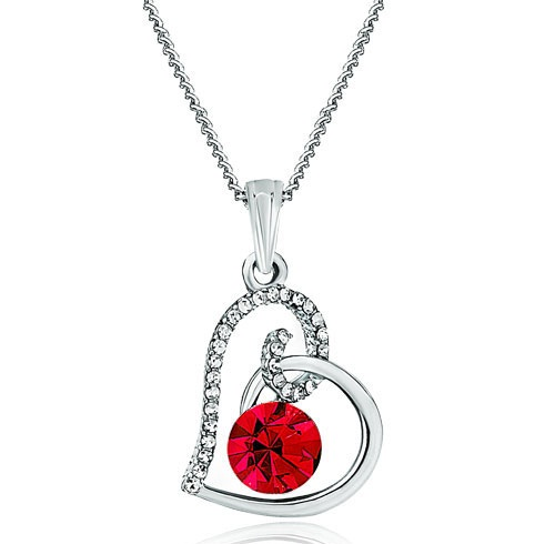 Heart shaped July birthstone necklace