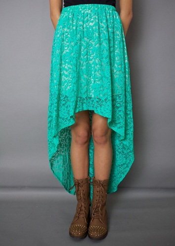 High-Low Blue Lace Skirt