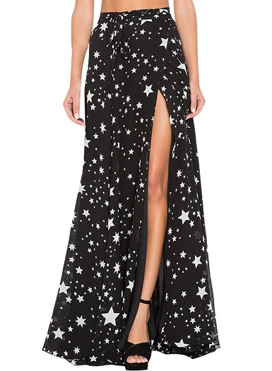 High Slit Printed Skirt