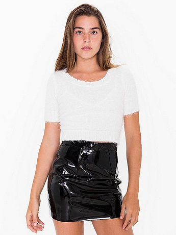 High Waist Black Vinyl Mini Skirt
