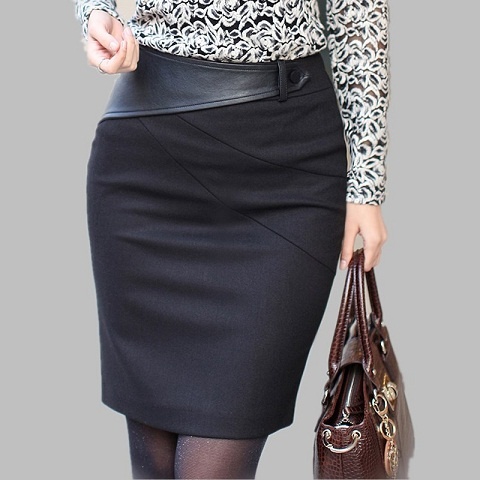High Waist Pencil Winter Skirts for Broad Figures