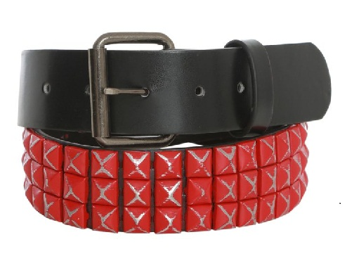 Hot Red Pyramid Studded Women Belt