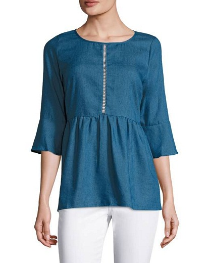Inset Denim Tunic for Women