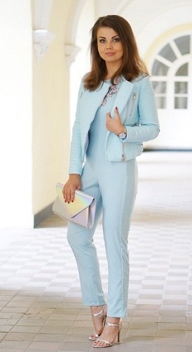 Jacket Attached Office Jumpsuit