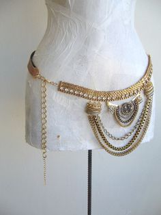 Jewel Studded Ivory Vintage Women Belt