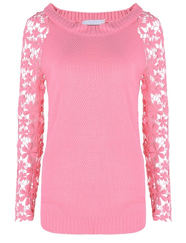 Knitted Top with Lace Sleeve