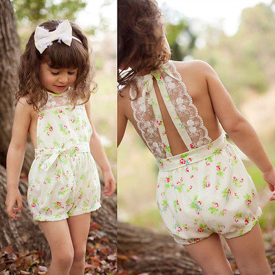 Lace Floral Kids Jumpsuit