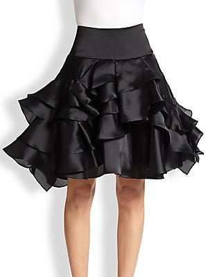 Layered style Satin skirt
