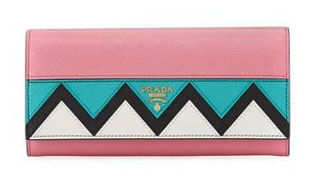 Leather zigzag Prada Wallet