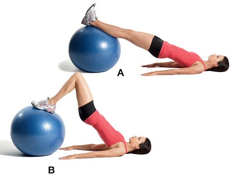 Leg Lifts – Lying Position, Using an Exercise Ball