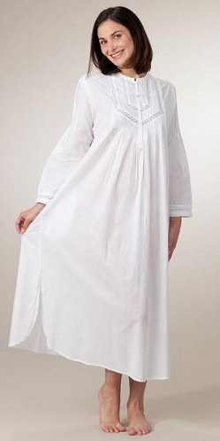 The women who like to wear gowns of full sleeve then this women summer  nightgown will be best for you. It is a high collar white colour cotton  nightgown. 254d78bece