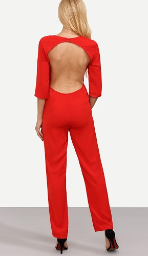 Long Sleeved Backless Jumpsuit