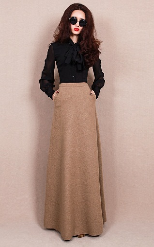 Long Smooth Wool Skirts