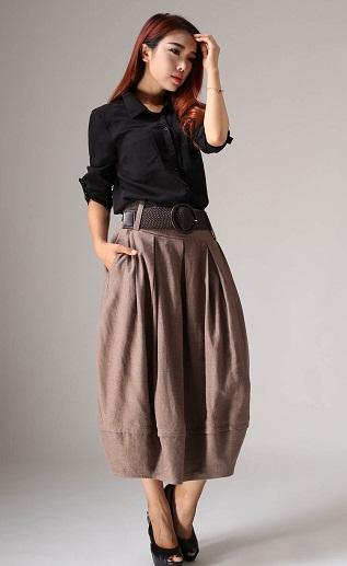Long linen brown bubble skirt