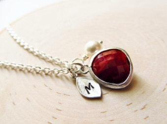 Monogrammed January birthstone necklace