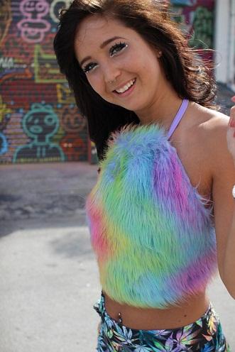 Multicolored Fur Halter Top