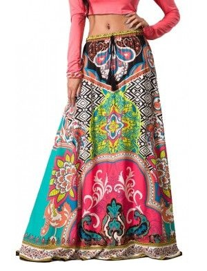 Multicolored Gypsy Maxi style Skirt