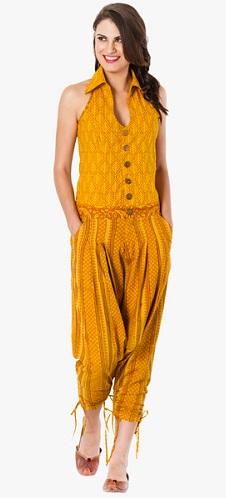 Mustard Yellow printed cottonJumpsuit