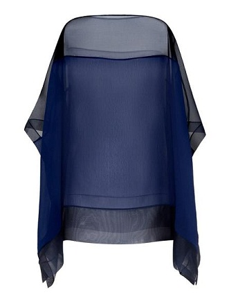 Navy Blue Sheer Silk Chiffon tunic for Women
