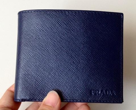 Navy Men's Bifold Prada Wallet