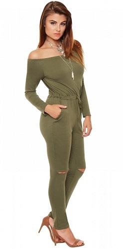 Off Shoulder Green Jumpsuit