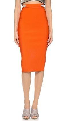 Office wear orange skirt