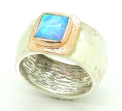 Opal Studded Silver Unisex Ring
