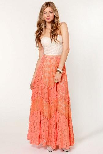 Orange Lace Maxi Skirt