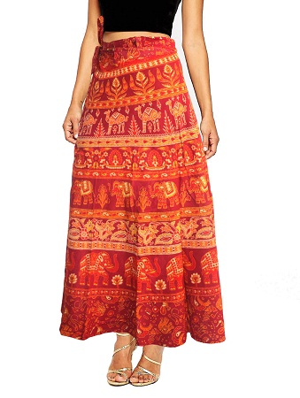 Orange Printed Wrap Around Skirt