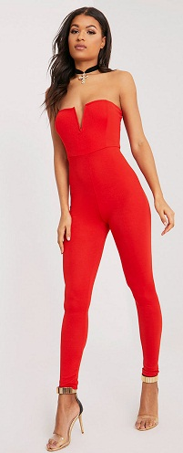 Party Wear Red Backless Jumpsuit