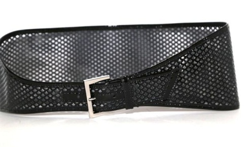 Perforated Black Leather Wide Belt