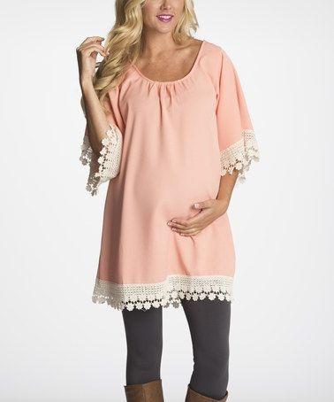 Pink Crochet Maternity Tunic