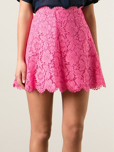 Pink Floral lace Mini Skirt