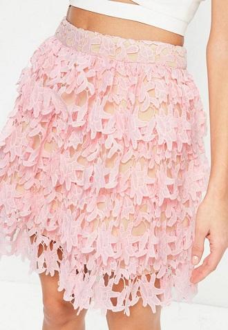 Pink Lace Ruffle Mini Skirt