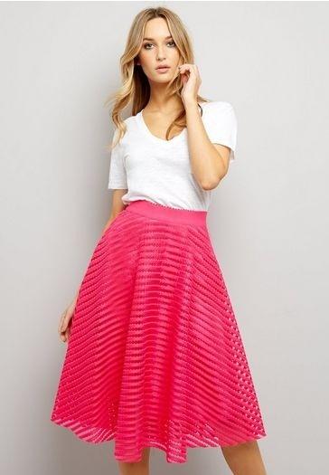 Pink Mesh Strip Midi Skirt