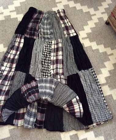 Plaid Patchwork Broomstick Skirt